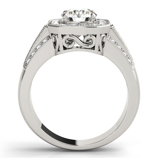 A euro-styled halo diamond engagement ring in white gold with an open cathedral under gallery on a channeled setting embedded with melee diamonds.