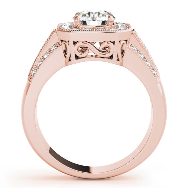 A euro-styled halo diamond engagement ring in rose gold with an open cathedral under gallery on a channeled setting embedded with melee diamonds.