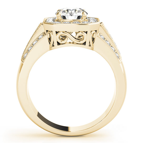 A euro-styled halo diamond engagement ring in yellow gold with an open cathedral under gallery on a channeled setting embedded with melee diamonds.