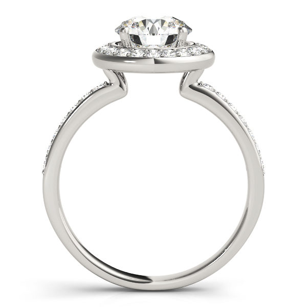 Side view of a halo diamond engagement ring in white gold embedded with melee diamonds with an under gallery.