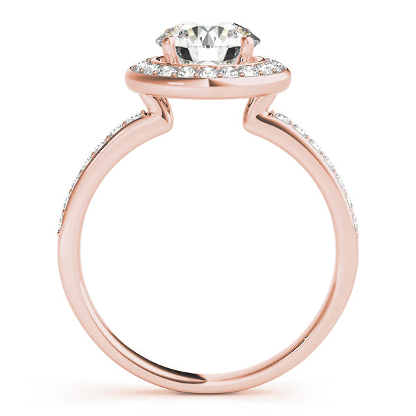 Side view of a halo diamond engagement ring in rose gold embedded with melee diamonds with an under gallery.