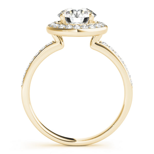 Side view of a halo diamond engagement ring in yellow gold embedded with melee diamonds with an under gallery.