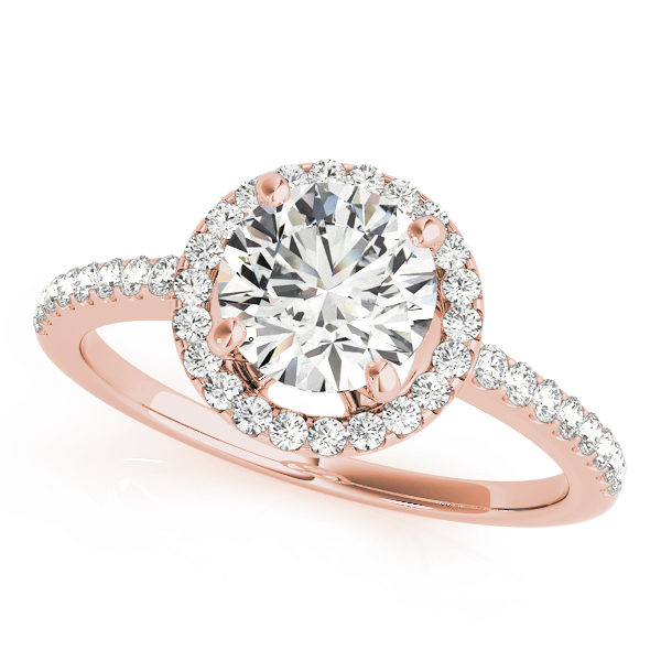 Front view of a kinife-edged halo diamond engagement ring in rose gold with a round diamond cut in a surfaced setting embedded with melee diamonds.