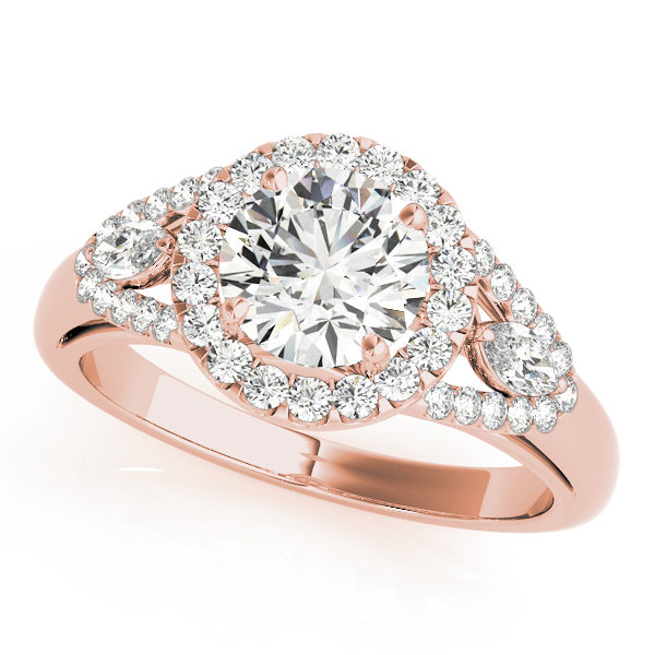 Front view of a halo diamond engagement ring in rose gold with a round cut in a split shank and a surface setting embedded with melee diamonds.