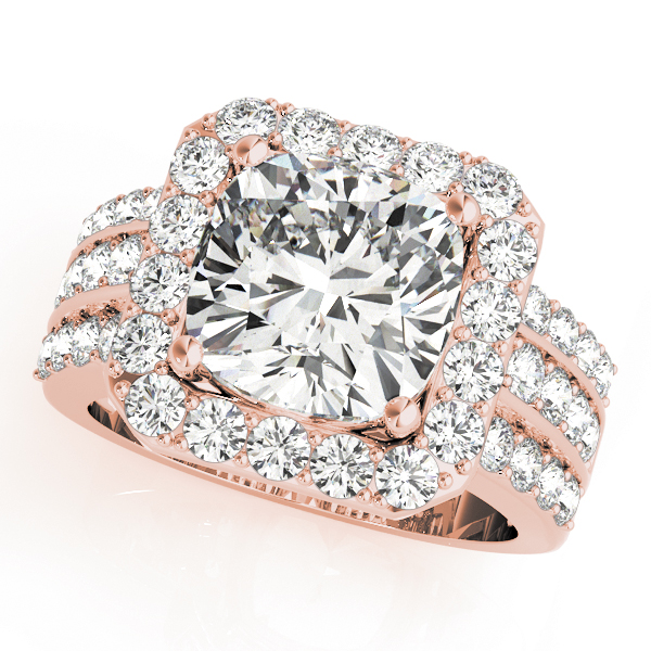 A front view of a rose gold radiant style centre cut jewel with a triple diamond band
