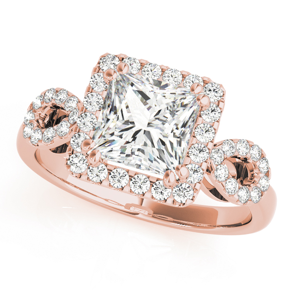 An engagement diamond ring in rose gold with a princess cut and a cathedral setting encrusted with melee diamonds.