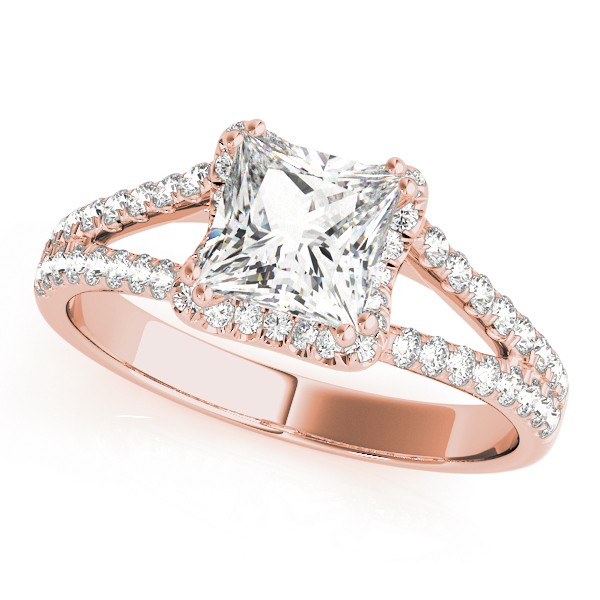 An engagement diamond ring in rose gold with an asscher cut and a split shank encrusted with melee diamonds.