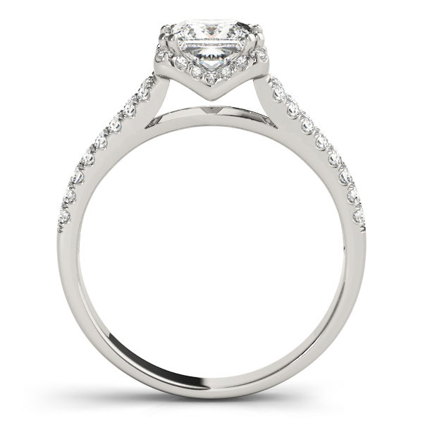 A side view of an engagement diamond ring in white gold with an asscher cut and a split shank encrusted with melee diamonds.