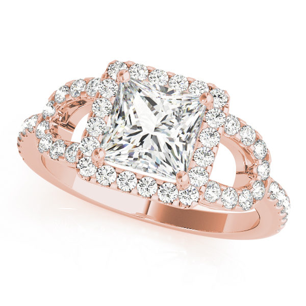A front view of a rose gold 4 pronged princess style centre cut jewel engagement ring with a diamond engraved U-band.