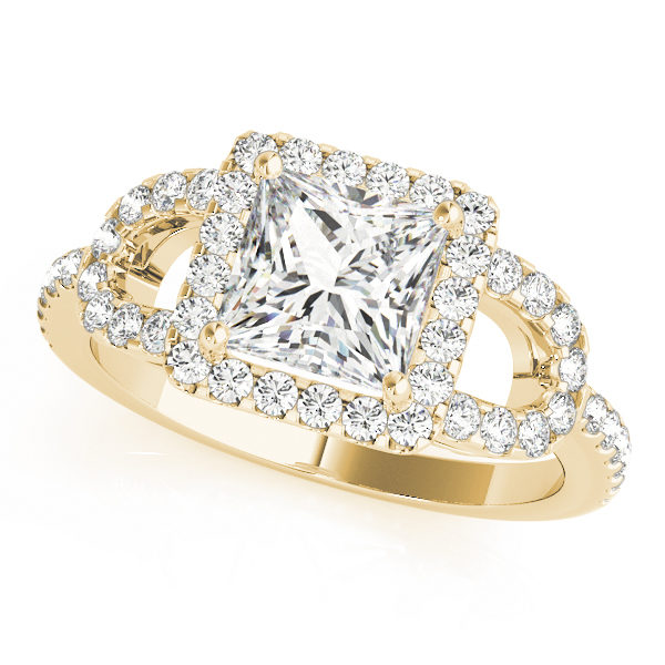 A front view of a yellow gold 4 pronged princess style centre cut jewel engagement ring with a diamond engraved U-band.