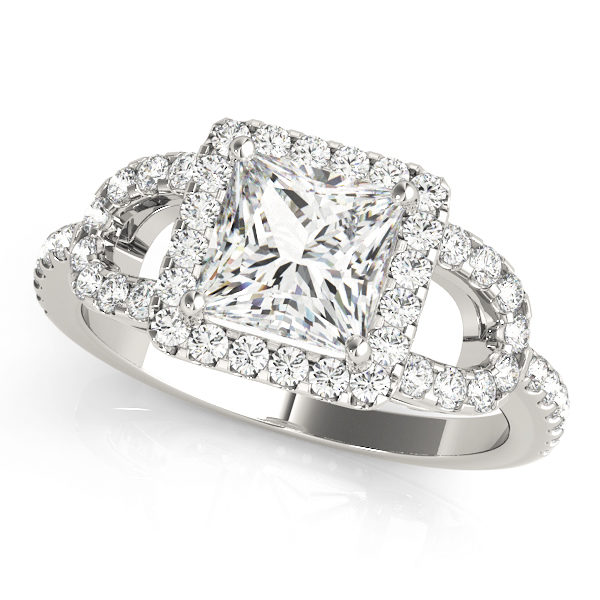 A front view of a white gold 4 pronged princess style centre cut jewel engagement ring with a diamond engraved U-band.