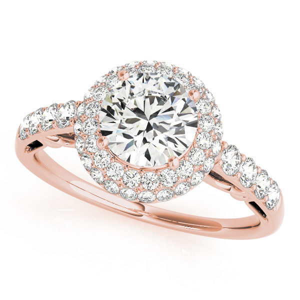 A front view of a rose round centre cut jewel engagement ring with a diamond flower style and a diamond engraved band.