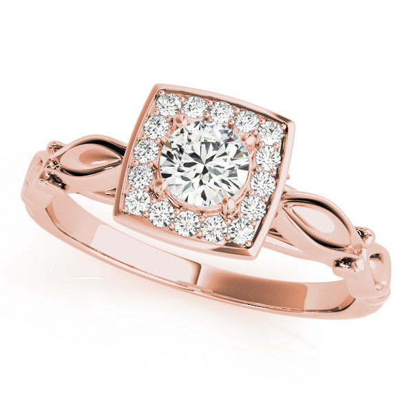 A front view of a rose square patterned halo engagement ring with a round centre cut jewel and vintage tulip band