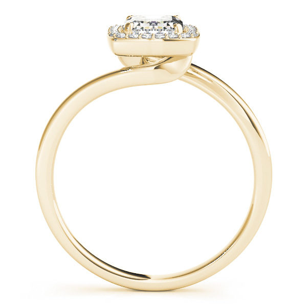 A front view of a diamond engagement ring, with an emerald cut centre jewel surrounded by a halo of diamonds, and a bypass style gold band.