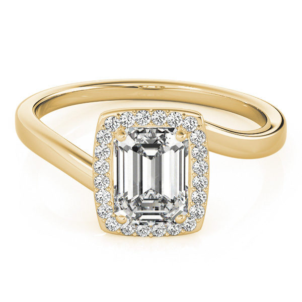 A diamond engagement ring, with an emerald cut centre jewel surrounded by a halo of diamonds, and a bypass style yellow gold band.