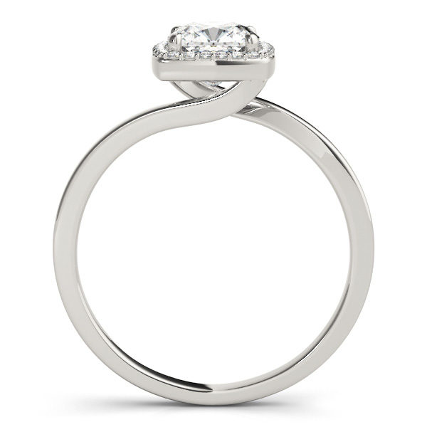 The side view of a white gold diamond engagement ring with a bypass style band, and a square shaped head in four prong halo set.