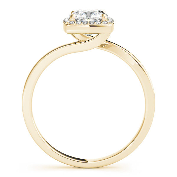 The side view of a yellow gold diamond engagement ring with a bypass style band, and a square shaped head in four prong halo set.