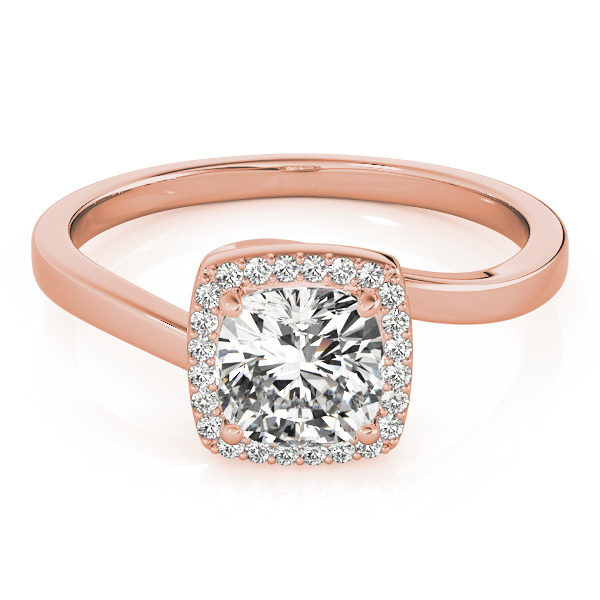 A diamond engagement ring with a four prong halo set square shaped centre piece, and a bypass style rose gold band.
