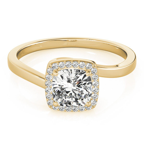 A diamond engagement ring with a four prong halo set square shaped centre piece, and a bypass style yellow gold band.
