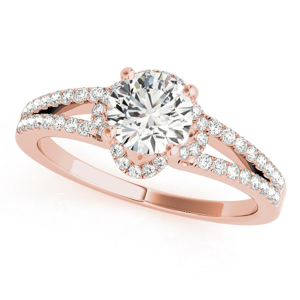 Rose gold halo enagegement ring in a split shank setting