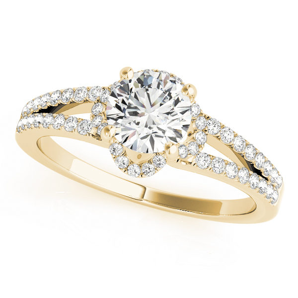 Yellow gold halo enagegement ring in a split shank setting