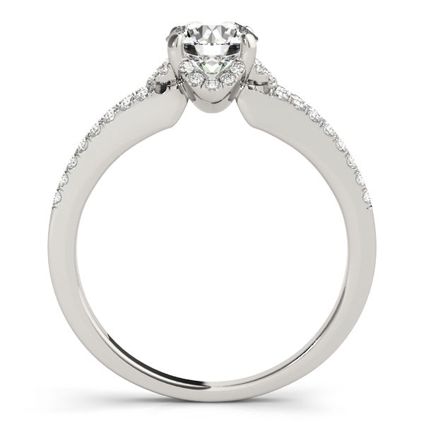 Front view of split shank engagement ring that shows the other side of the ring in white gold