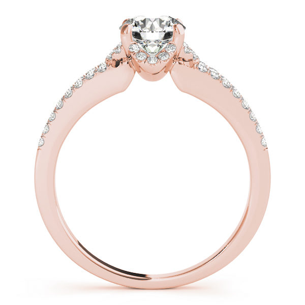 Front view of split shank engagement ring that shows the other side of the ring in rose gold