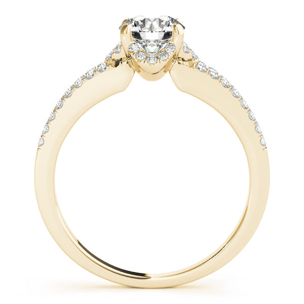 Front view of split shank engagement ring that shows the other side of the ring in yellow gold