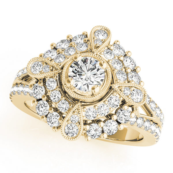 Yellow gold vintage halo engagement ring in split shank with milgrain design