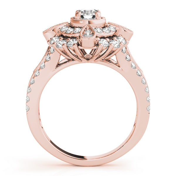 Front view of a rose gold vintage halo engagement ring showing the side part of the ring designed with double halo setting and a tear-drop shape filled with two diamonds