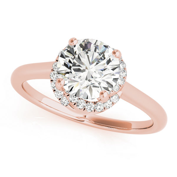 front view of a solitaire set diamond engagement ring in rose gold