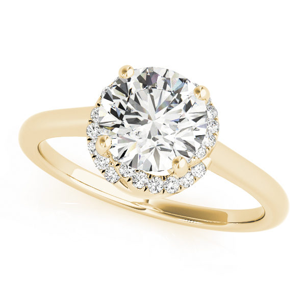 top view of a solitaire set diamond engagement ring in yellow gold