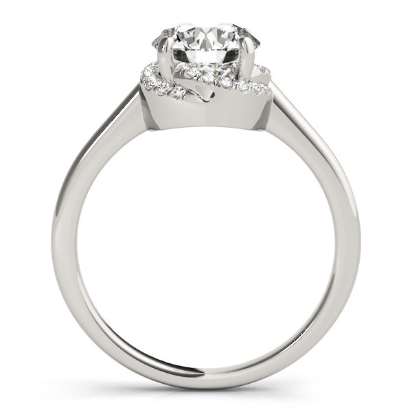 front view of a solitaire set diamond engagement ring in white gold