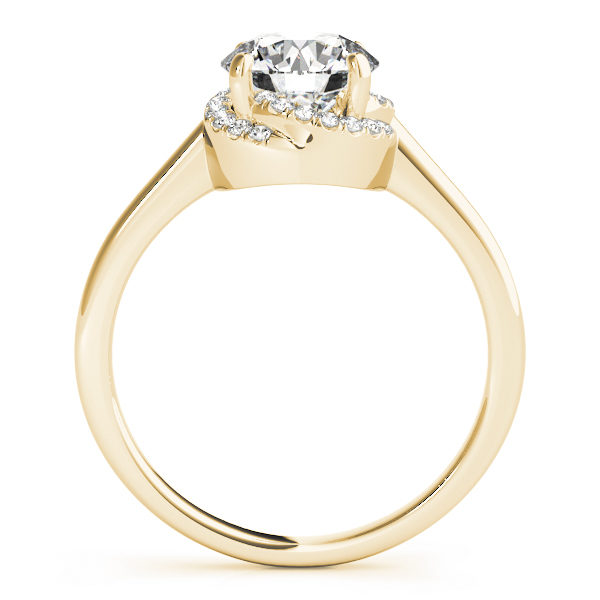 front view of a solitaire set diamond engagement ring in yellow gold