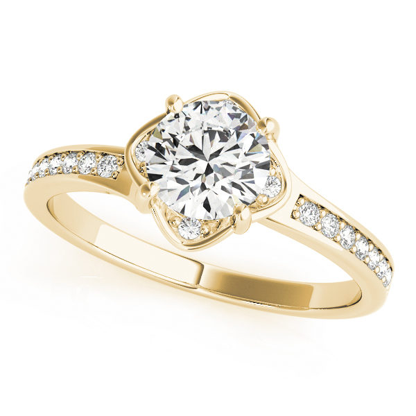 Yellow gold split band engagement ring with 4 prongs with small diamonds beside the prongs