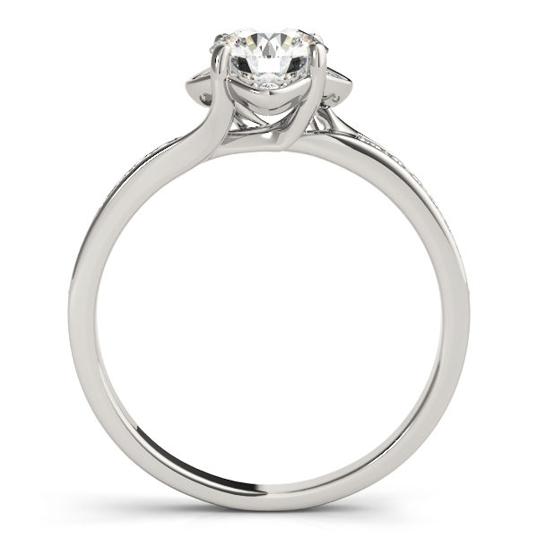 Front view of a standing white gold halo engagement ring with 4 prongs with small diamonds beside the prongs