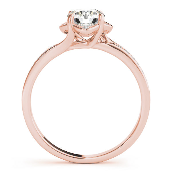Front view of a standing rose gold halo engagement ring with 4 prongs with small diamonds beside the prongs