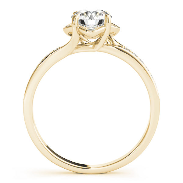 Front view of a standing yellow gold halo engagement ring with 4 prongs with small diamonds beside the prongs