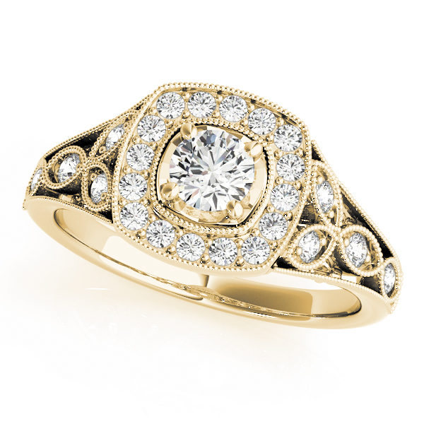 Yellow gold vintage halo engagement ring as single diamond is surrounded with smaller diamond formed in square, the band is designed with a leaves with diamond