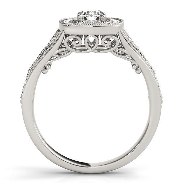 Front view of a white gold vintage halo engagement ring