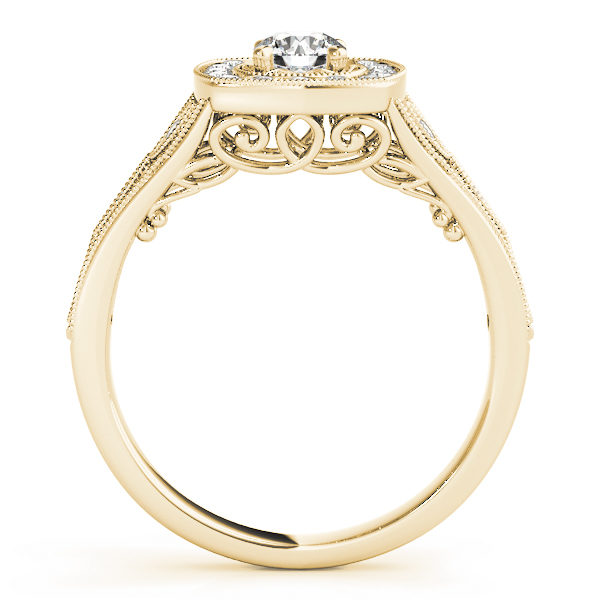 Front view of a yellow gold vintage halo engagement ring