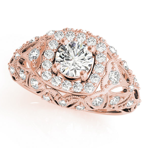 Top view of rose gold antique style halo engagement ring