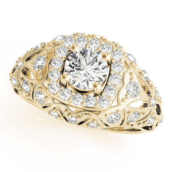 Top view of yellow gold antique style halo engagement ring