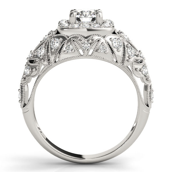 Front view of white gold antique style halo engagement ring