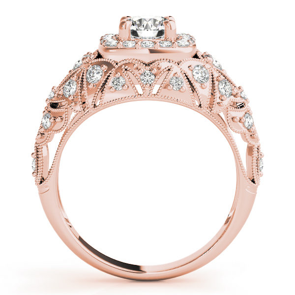 Front view of rose gold antique style halo engagement ring