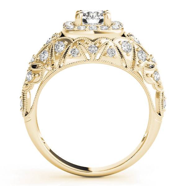 Front view of yellow gold antique style halo engagement ring