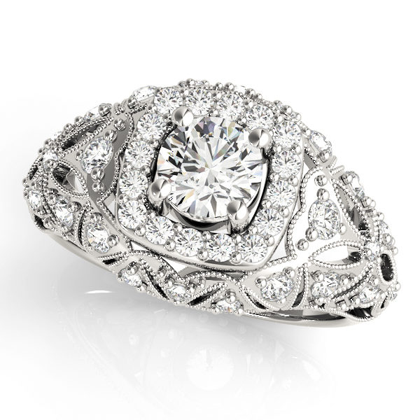 Top view of white gold antique style halo engagement ring