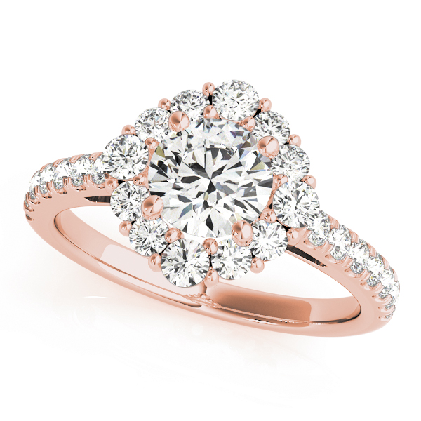 Top view of a round halo engagement ring in rose gold