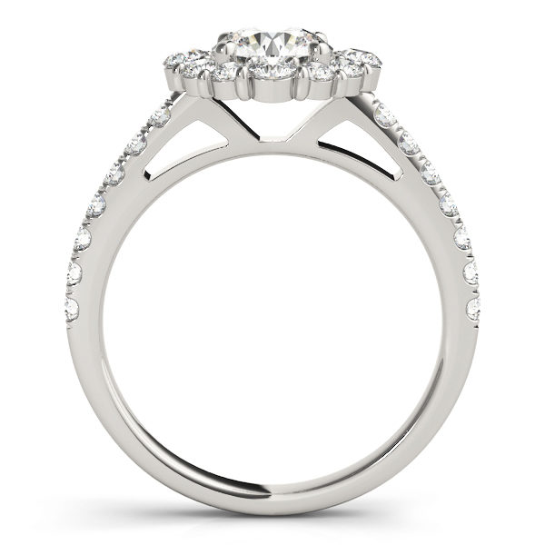 Front view of a round halo engagement ring in white gold