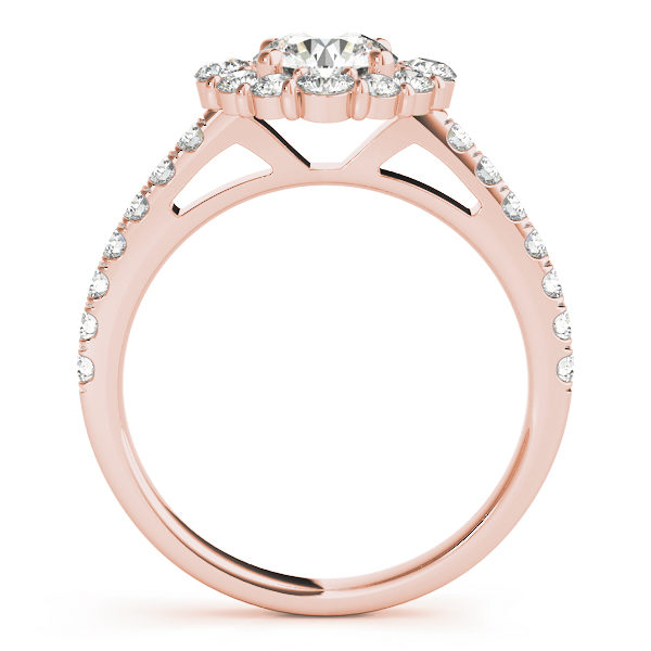 Front view of a round halo engagement ring in rose gold